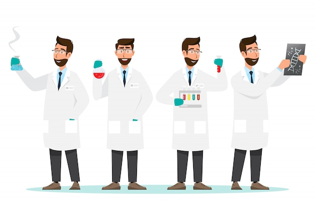 Scientists man research in a laboratory lab