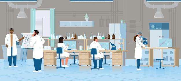 과학자 또는 의사 남성과 여성 화학 실험실에서 연구