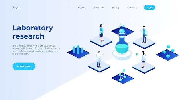 Scientists researching formulas in the laboratory, landing page concept vector illustration