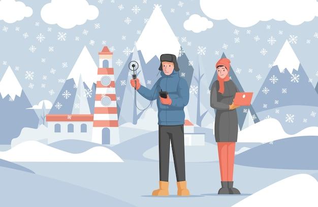 科学者は冬の天気を研究します