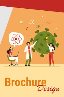Scienziati che studiano il coronavirus. team di esperti che fanno illustrazione vettoriale piatto di ricerca medica. virus, pandemia, concetto di scienza