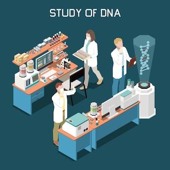 Ученые, изучающие днк в лаборатории генетики, 3d изометрическая иллюстрация