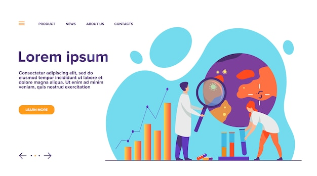 Scientists studying virus in laboratory  landing page