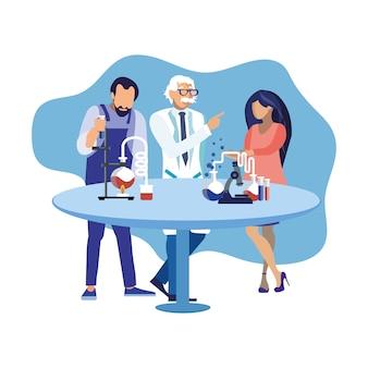 Scientists watching lab test flat illustration