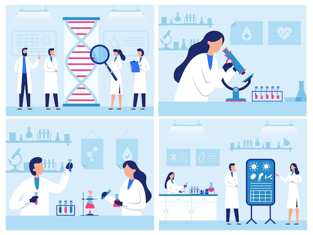 Scientists work in laboratory. professional genetic research lab, virus and blood researches. water quality diagnostics illustration set.