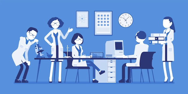 Scientists at work. male, female experts of physical or natural laboratory in white coats research with microscope, computer. science, technology concept.  illustration with faceless characters