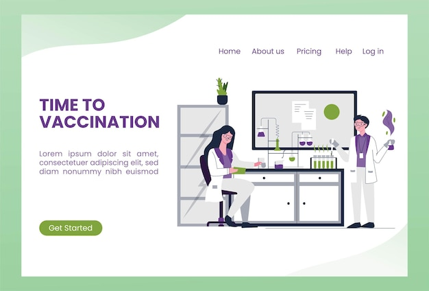 Scientists work researching vaccines in a lab  landing page template