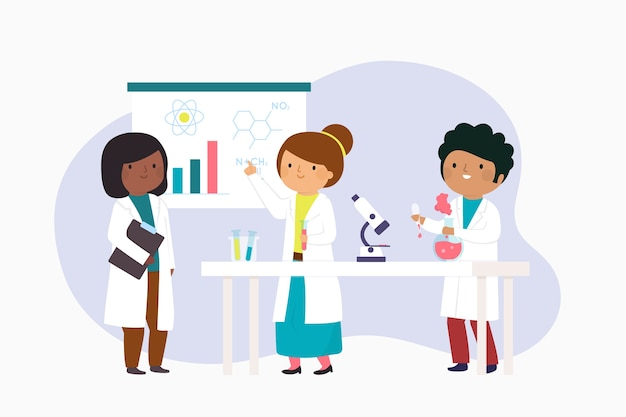 Scientists working concept