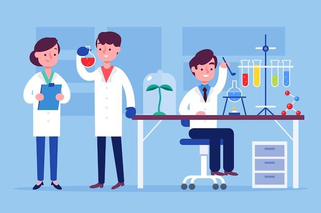 Scienziati che lavorano illustrazione