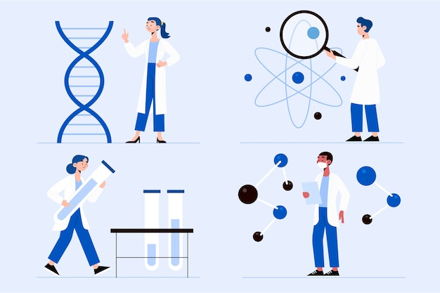 Scientists working illustration