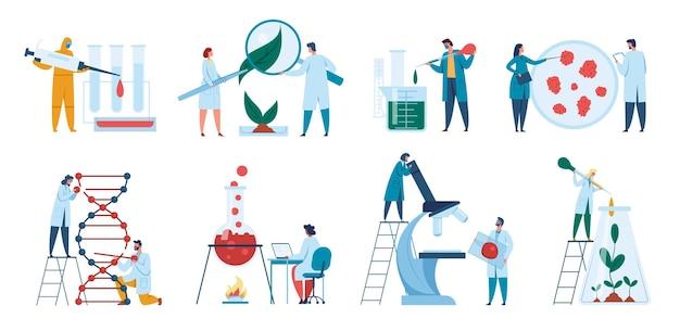 실험실에서 일하는 과학자 연구원 생물학자는 dna 연구 개념 벡터를 실험합니다.