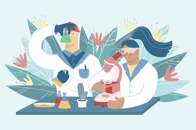 실험실에서 일하는 과학자