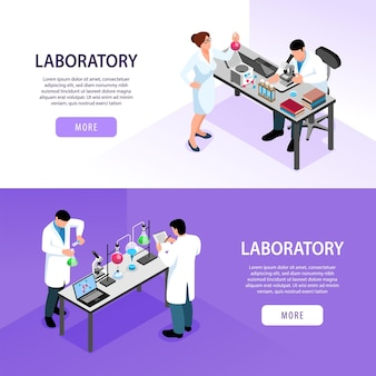 약국 실험실 아이소 메트릭 배너에서 근무하는 과학자는 화려한 3d 고립 된 그림에 설정
