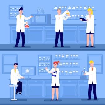 Scientists working in lab coats