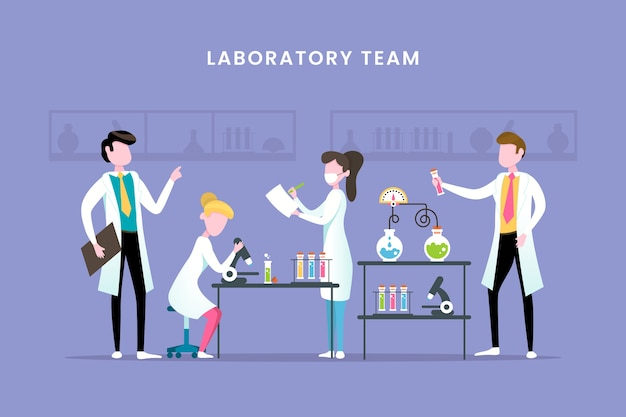 実験室のチームワークを働いている科学者