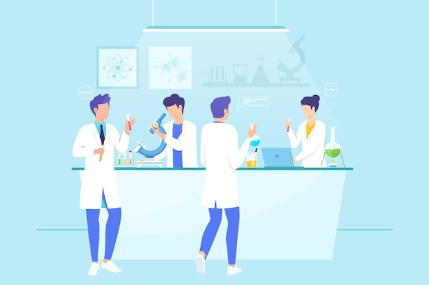 Scientists working in research