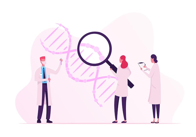 Scientists working with dna looking through huge magnifying glass and making notes. cartoon flat illustration
