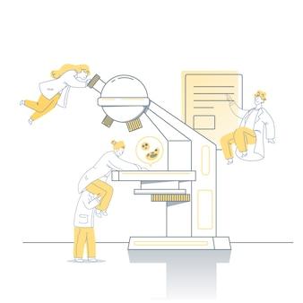 Scienziati che lavorano con la macchina