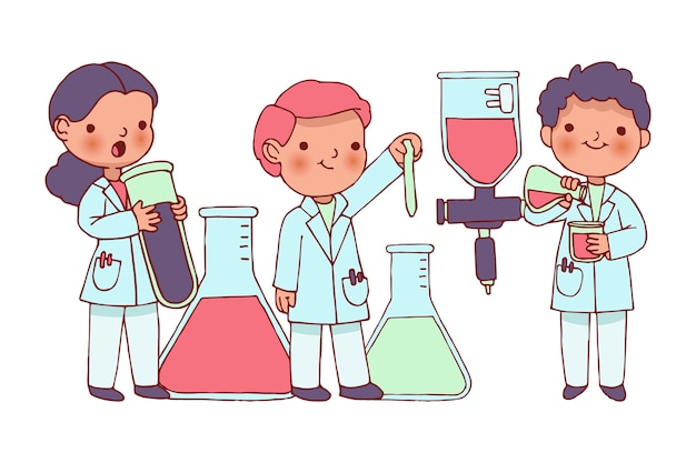 Scientists working with substances