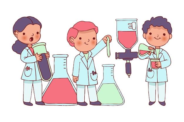 Scienziati che lavorano con sostanze