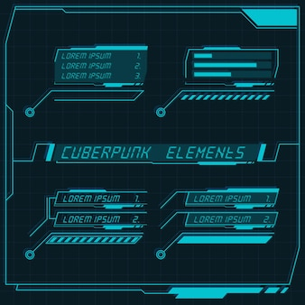 Scifi futuristic control panel collection of hud elements gui vr ui design cyberpunk retro style