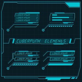 Scifi футуристическая панель управления коллекция элементов hud gui vr ui дизайн cyberpunk ретро стиль Premium векторы