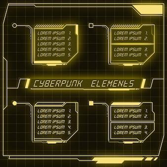 Scifi futuristic panel collection of hud elements gui vr ui design cyberpunk neon glow retro style