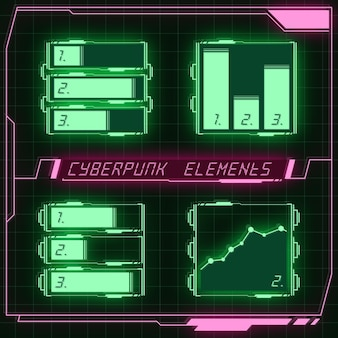 Scifi футуристическая панель коллекция элементов hud gui vr ui дизайн cyberpunk неоновое свечение в стиле ретро Premium векторы