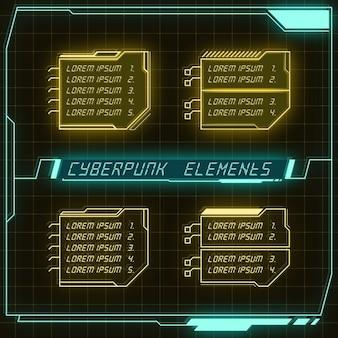 Scifi футуристическая панель коллекция элементов hud gui vr ui дизайн cyberpunk неоновое свечение в стиле ретро