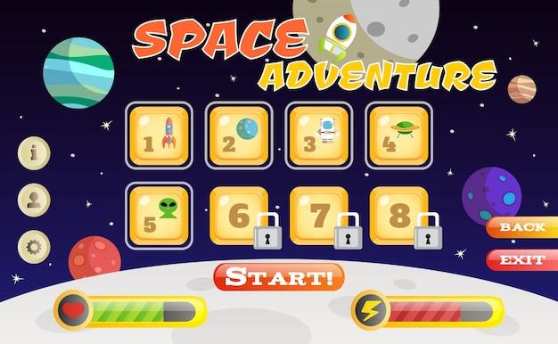 Scifi пространство приключенческая игра пользовательский интерфейс шаблон векторных иллюстраций