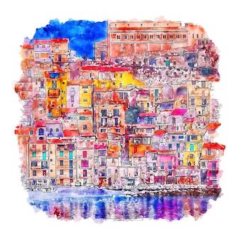 Scilla италия акварельный эскиз рисованной иллюстрации