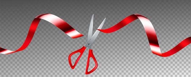 Scissors cut ribbon business grand opening