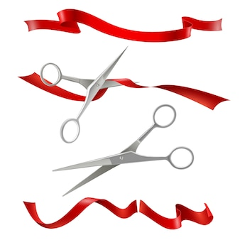 Scissors cutting red ribbon realistic set