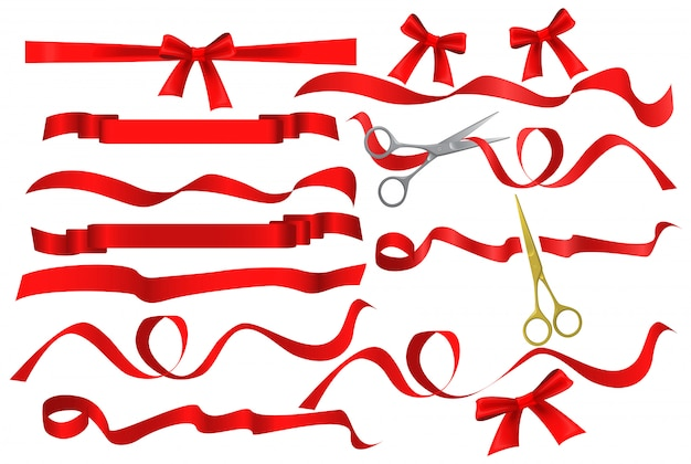 Scissors cutting red silk ribbon set
