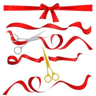 Scissors cutting red silk ribbons