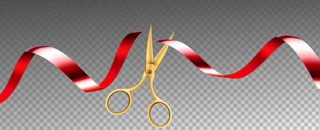 Scissors cutting ribbon shop grand opening