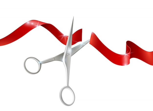 Scissors and ribbon realistic illustration
