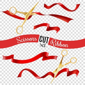 Scissors and ribbon transparent set