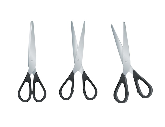 Scissors with black plastic handles. open and closed scissors isolated on white background. vector