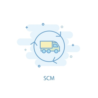 Концепция линии скм. значок простой линии, цветные рисунки. плоский дизайн символа scm. может использоваться для ui / ux