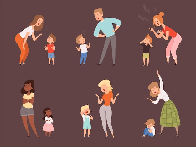 아이들을 꾸짖습니다. 부모 아버지와 어머니 슬픈 표정 반응 만화 캐릭터를 우는 아이.