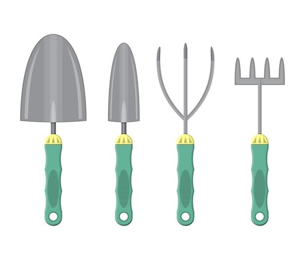 Совок и ручные грабли с пластиковыми ручками.