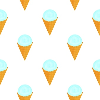 Scoop of ice cream in a waffle cone seamless pattern.