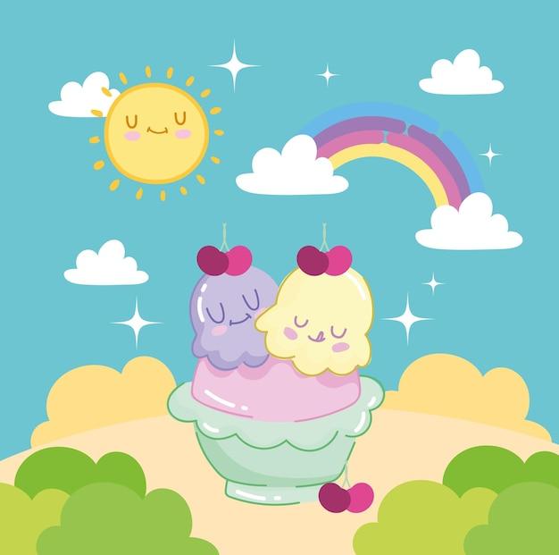 Scoops ice cream cute Premium Vector