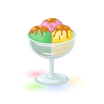 アイスクリームで覆われたチョコレートまたはキャラメル釉薬のスクープ