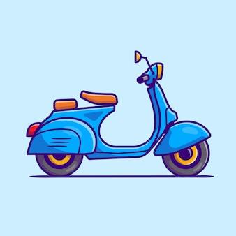 Скутер мультфильм значок иллюстрации. концепция значок мотоцикл автомобиль изолированы. плоский мультяшном стиле