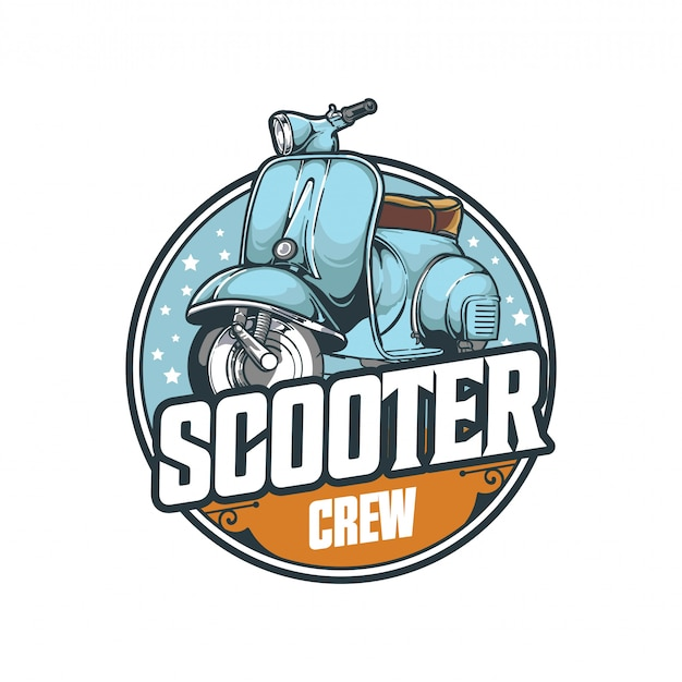 Scooter crew badge emblem transportation logo