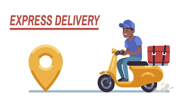 Самокат доставки черный мальчик. быстрый курьер, водитель мотоцикла едет по дороге, доставляет еду, заказ или посылку клиенту, экспресс-доставка. вектор плоский стиль иллюстрации шаржа изолированный фон