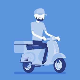 スクーター配達の少年。宅配便業者は、食品、注文、または小包を顧客に配達し、オンラインで速達便を注文します。顔のない文字でベクトルイラスト