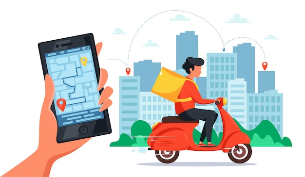 Scooter delivery service concept. courier riding by scooter with delivery box, hand holding smartphone with online tracking.  in flat style.